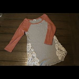 Cute baseball tee designer shirt with laced sides